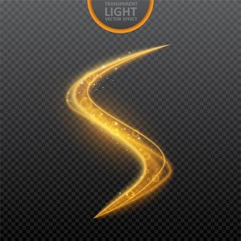 Efecto de luz dorada sobre transparente con efecto de luz de remolino brillante.