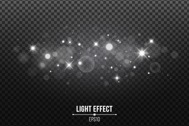 Efecto de luz elegante aislado. estrellas brillantes. plata brilla y manchas brillantes.
