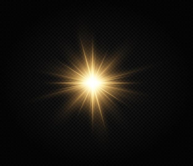 Efecto de luz de estrella dorada brillante estrella brillante estrella de navidad la luz dorada brillante explota
