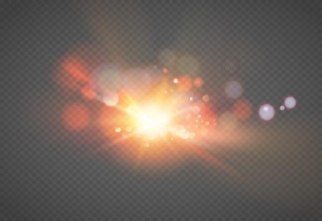 Efecto de luz de flash de lente especial de luz solar transparente. desenfoque a la luz del resplandor. elemento de decoración. rayos estelares horizontales y reflector.