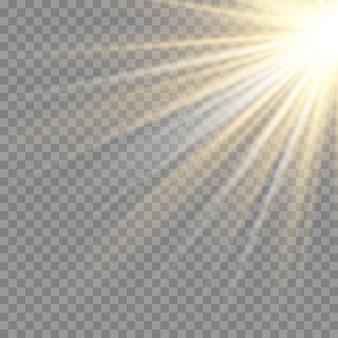 Efecto de luz de flash de lente especial de luz solar transparente.flash de lente de sol frontal.