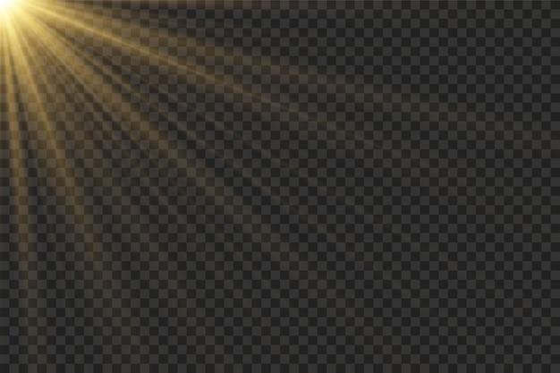 Efecto de luz de flash de lente especial de luz solar transparente de vector.flash de lente de sol frontal.