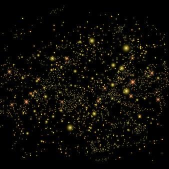 Efecto de luz de fondo de partículas de brillo dorado