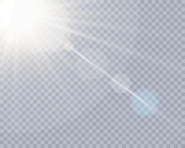 Efecto de luz de lente especial de luz solar transparente.