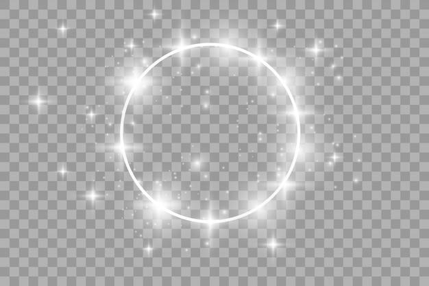 Efecto de luz con marco de círculo plateado con cola brillante de destellos brillantes de polvo de estrellas, iluminación fría.