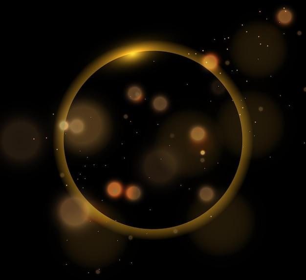 Efecto de luz con muchas partículas de brillo aisladas sobre fondo negro vector