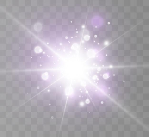 Efecto de luz, polvo cósmico, estrellas, resplandor.