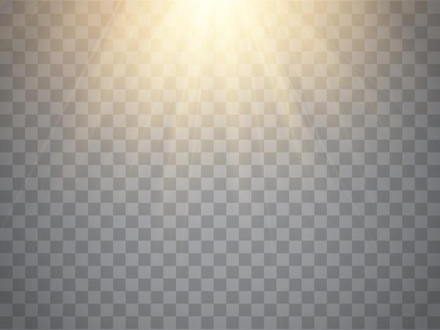 Efecto de luz, rayos de sol, vigas sobre fondo transparente.