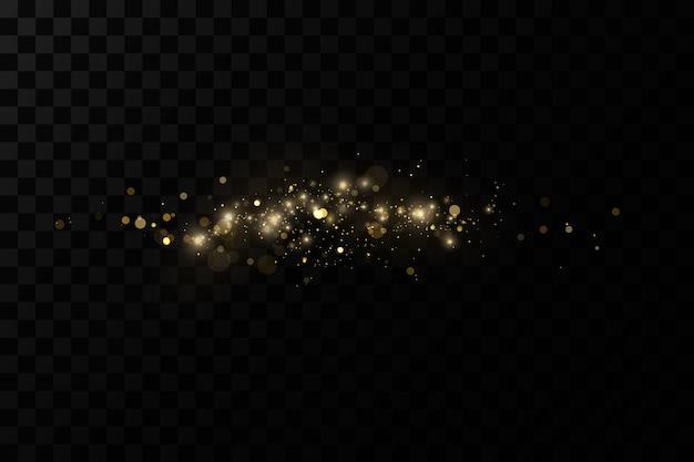 Efecto de luz resplandeciente partículas de polvo mágicas brillantes el polvo chispas y estrellas doradas brillan con.