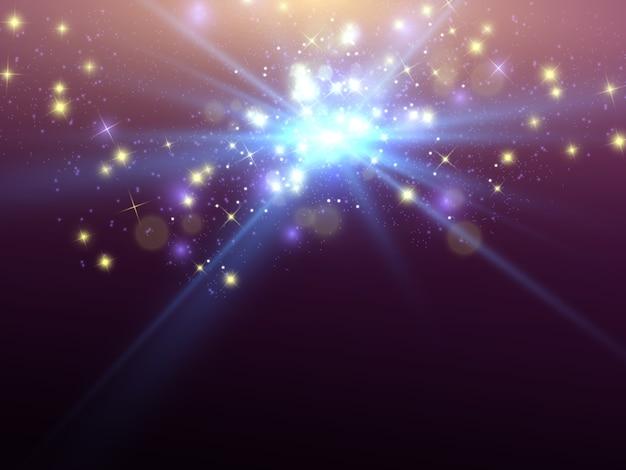 Efecto de luz resplandor estrella estalló con destellos