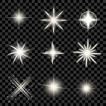 Efecto de luz resplandor estrellas estalla con destellos.