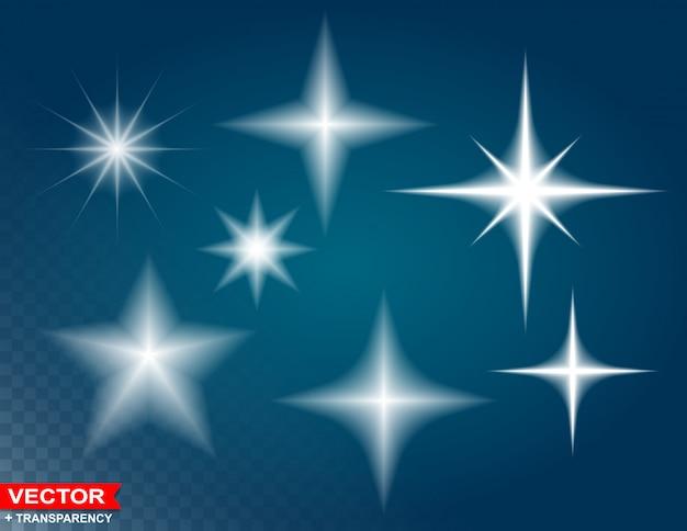 Efecto de luz resplandor estrellas estalla con destellos