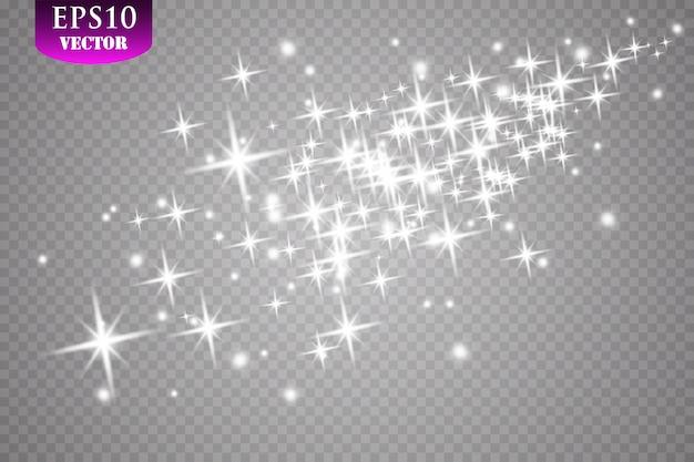 Efecto de luz resplandor. ilustración. navidad flash polvo.