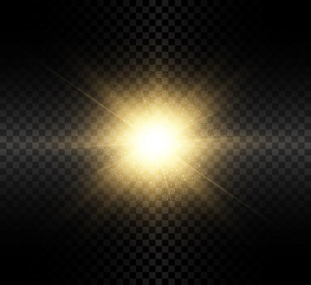 Efecto de luz resplandor transparente con rayos brillantes.