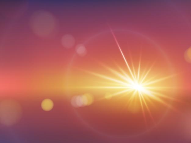 Efecto de la luz del sol realista con vector bokeh borrosa