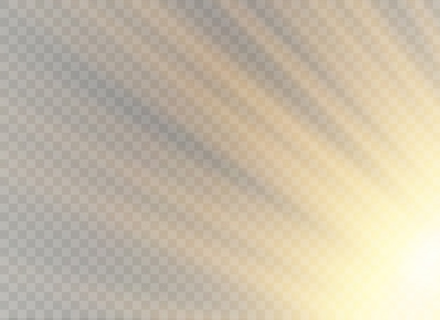 Efecto de luz transparente brillante, brillo, chispa, destello solar.