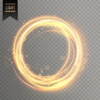 Efecto de luz transparente con destellos dorados circulares