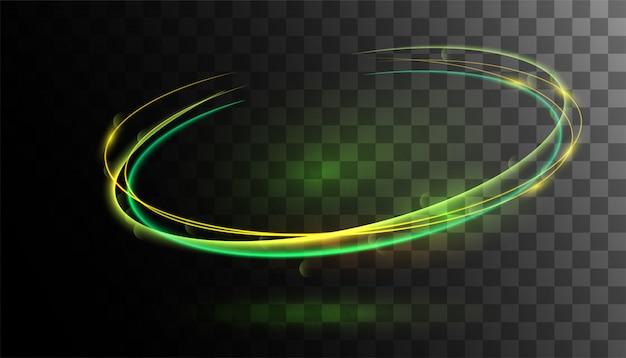 Efecto de luz verde resplandor transparente.