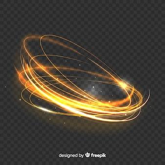 Efecto mágico de remolino de luz dorada