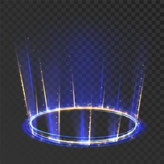 Efecto de marco místico redondo brillante de portal