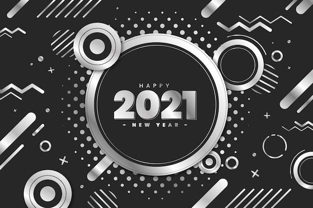 Efecto memphis plata feliz año nuevo 2021