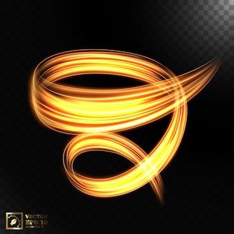 Efecto de movimiento de velocidad de luz abstracta, rastro de luz dorada.
