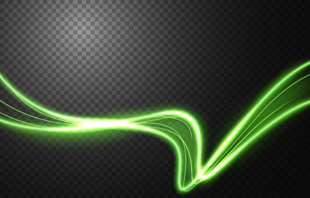 Efecto de movimiento de velocidad de luz abstracta, rastro de luz verde.