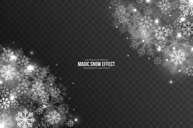 Efecto de nieve caída mágica 3d