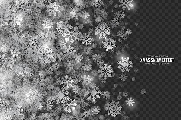 Efecto de nieve de navidad sobre fondo transparente