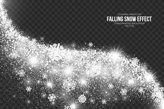 Efecto de nieve que cae sobre fondo transparente