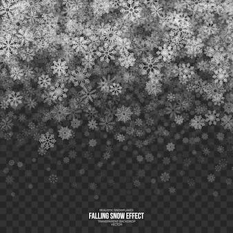Efecto de nieve que cae transparente