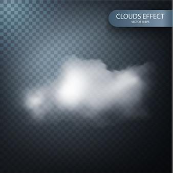 Efecto de nube sobre un fondo transparente realista