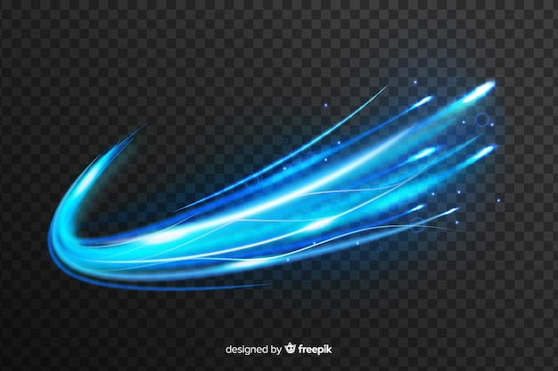 Efecto de onda de luz azul sobre fondo transparente