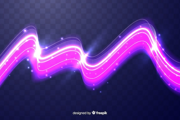 Efecto de onda de luz rosa sin fondo
