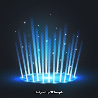 Efecto portal decorativo de luz azul sobre fondo transparente