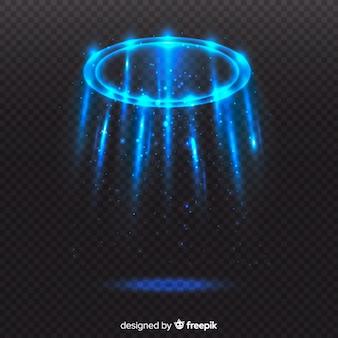 Efecto portal de luz azul con fondo transparente