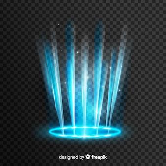 Efecto portal de luz azul sobre fondo transparente