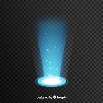 Efecto portal de luz decorativa sobre fondo transparente