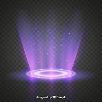 Efecto portal de luz con fondo transparente.