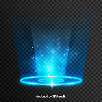 Efecto portal de luz sobre fondo transparente