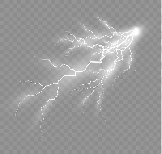 El efecto del rayo y la iluminación conjunto de cremalleras tormenta eléctrica y relámpago