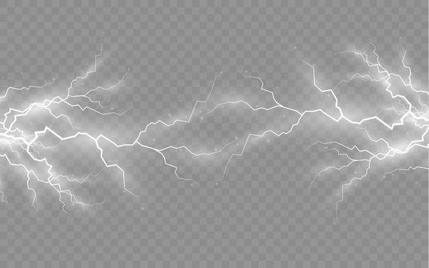 El efecto del rayo y la iluminación, conjunto de cremalleras, tormenta y relámpago.