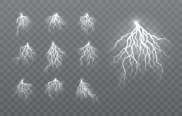 El efecto del rayo y la iluminación, conjunto de cremalleras, tormenta y relámpago,