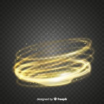 Efecto de remolino de luz con fondo transparente