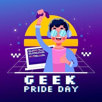 Efecto retro del día del orgullo geek synthwave