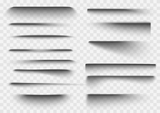 Efecto de sombra de papel. sombras transparentes realistas superpuestas.