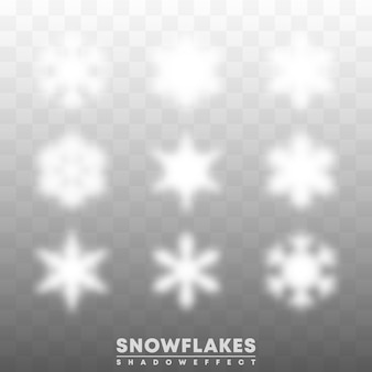 Efecto de superposición de sombras de copos de nieve