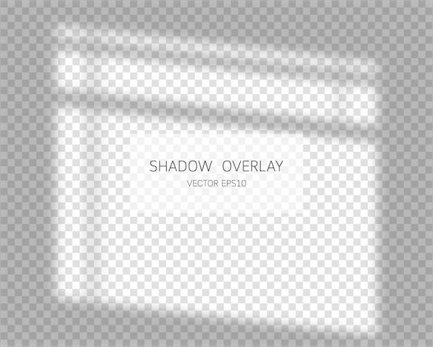 Efecto de superposición de sombras. sombras naturales de la ventana aislada sobre fondo transparente. ilustración.