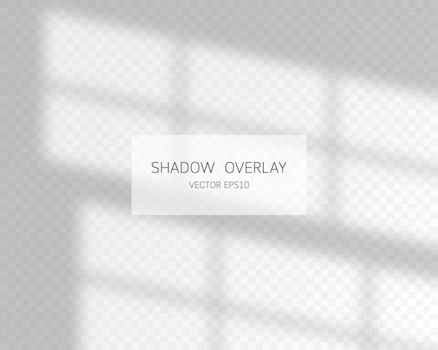 Efecto de superposición de sombras. sombras naturales de ventana aislada sobre fondo transparente.