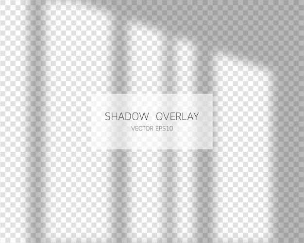 Efecto de superposición de sombras. sombras naturales de ventana sobre fondo transparente. ilustración.